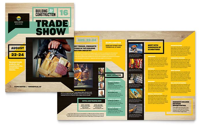 Builders Trade Show Brochure Template Design by StockLayouts