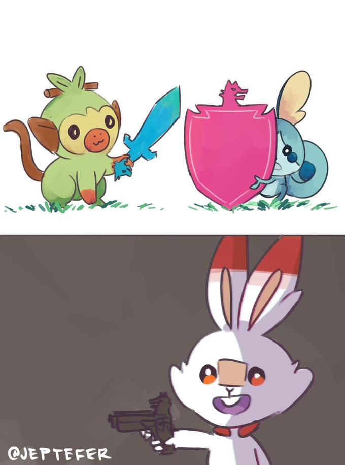 Grookey Scorbunny Sobble Pokemon Sword Shield Pokemon