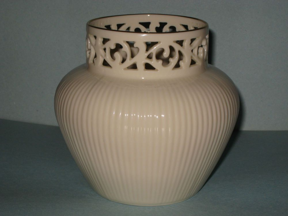 Rare Vintage Lenox Collectible Vase Gold Trimmed Lace Top Ribbed Bottom Lenox Vase Vase Gold Trim