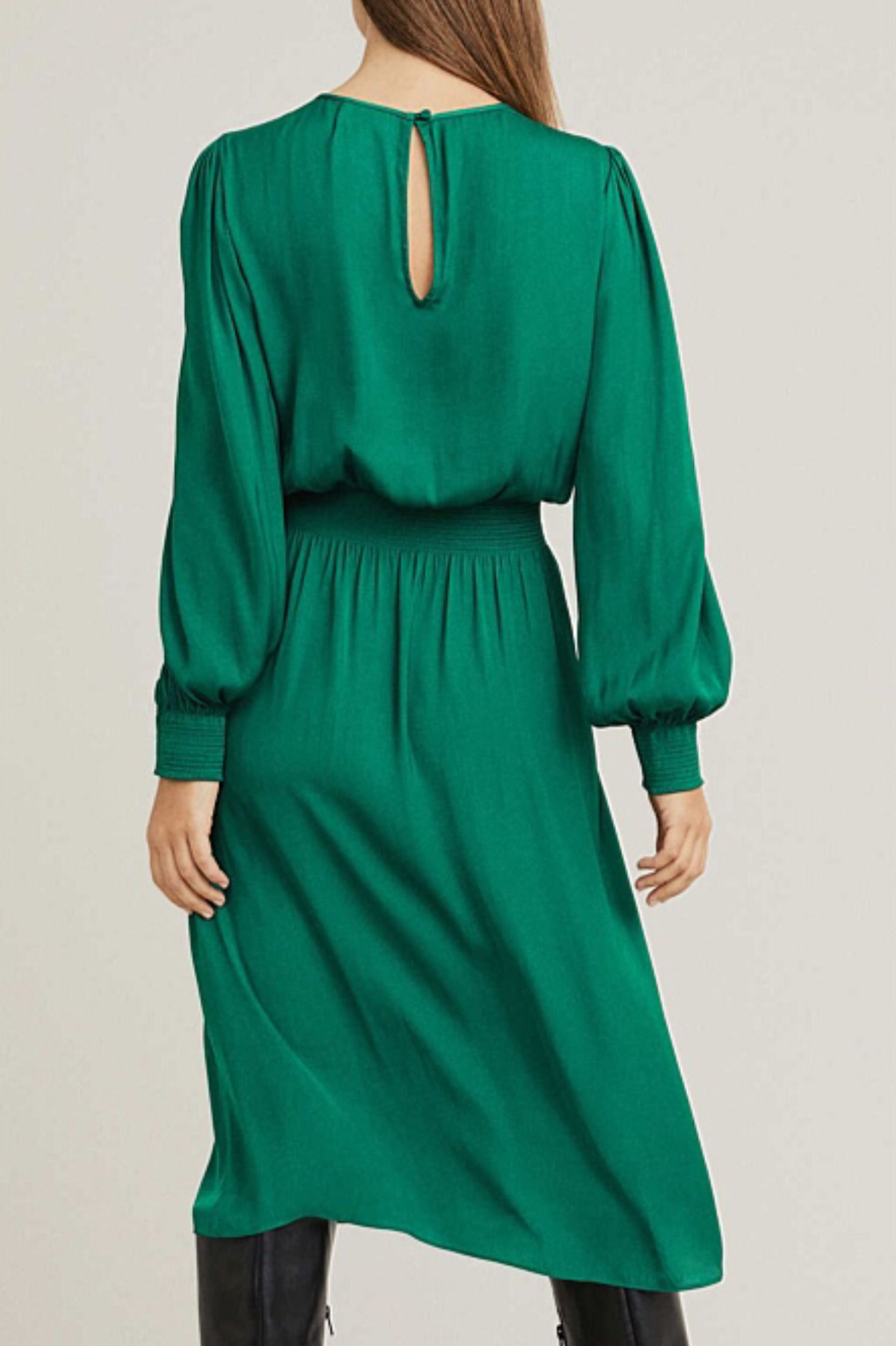 Witchery Bottle Green Shirred Midi Dress Dresses With Sleeves Dresses Long Sleeve Dress [ 2237 x 1489 Pixel ]