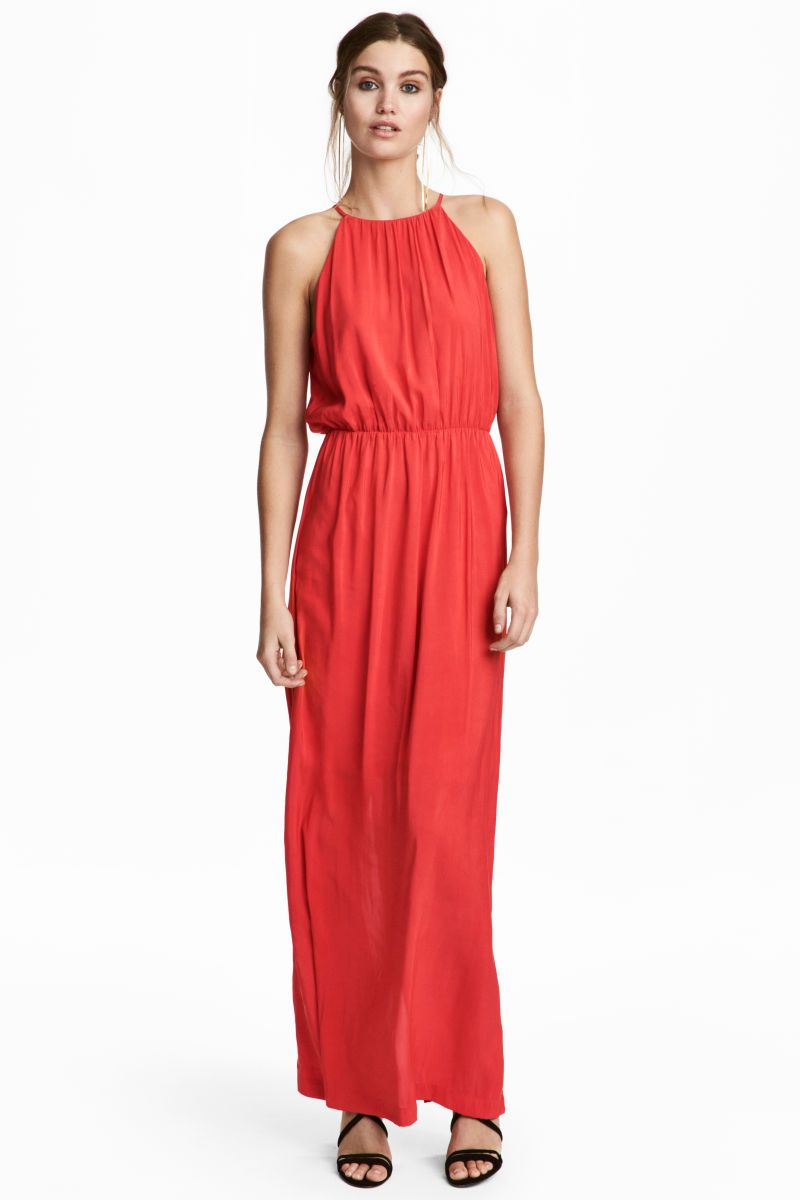 Langes Kleid Korallenrot Damen H M De Mode Lange Kleider