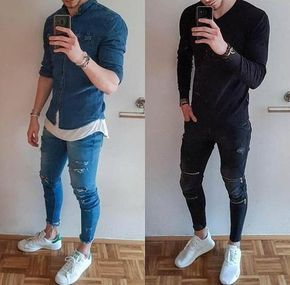 RIPPED SKINNY JEANS | Ripped jeans men, Jeans outfit men