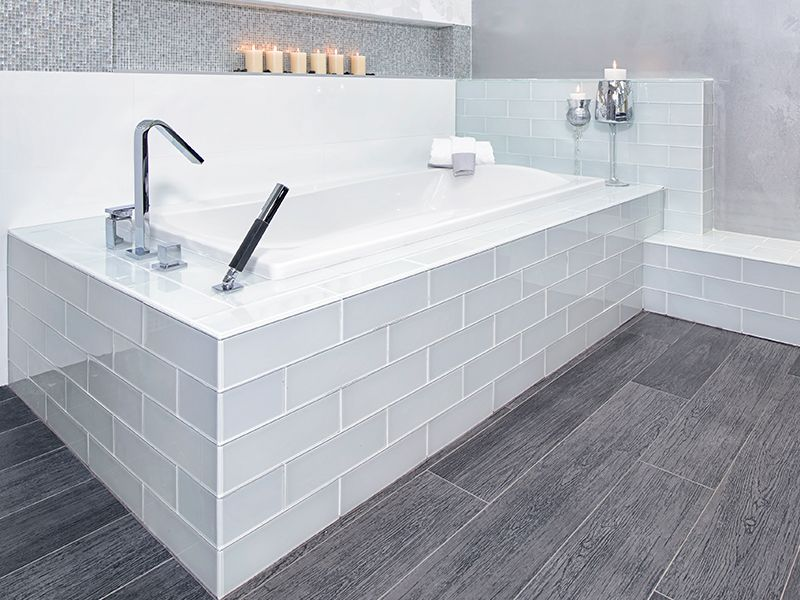 Modern Gray Bathroom With Planked Wood Tile White 4x16