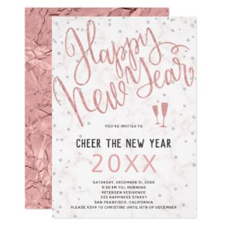 cheer the new year rose gold marble party invitation by strawberrychocolate ad invitations events