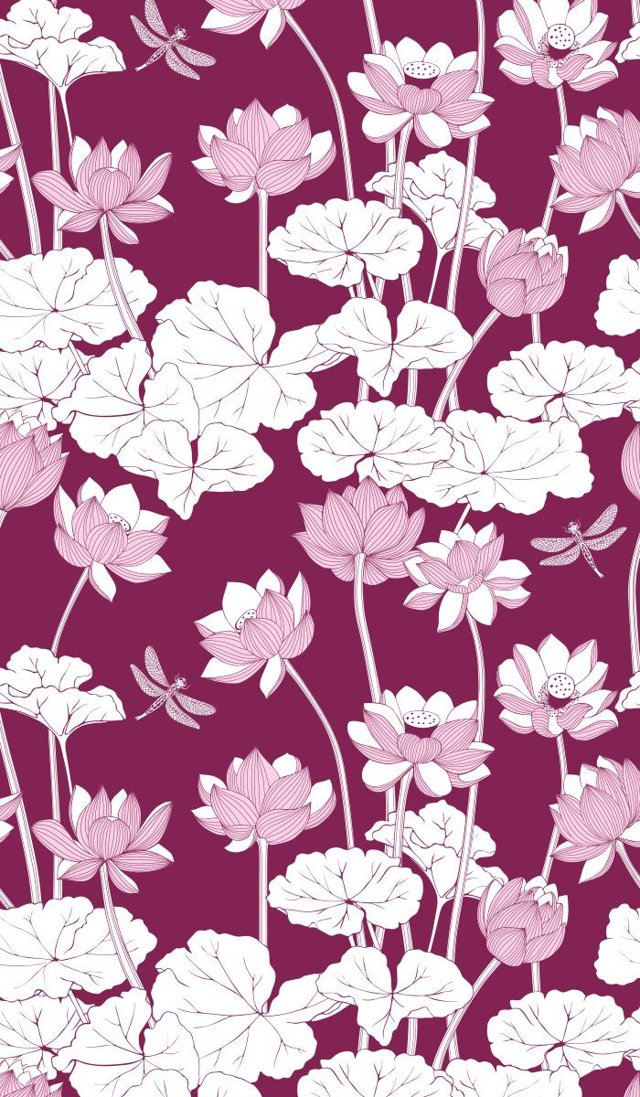 Lotus flowers seamless pattern with Burgundy background