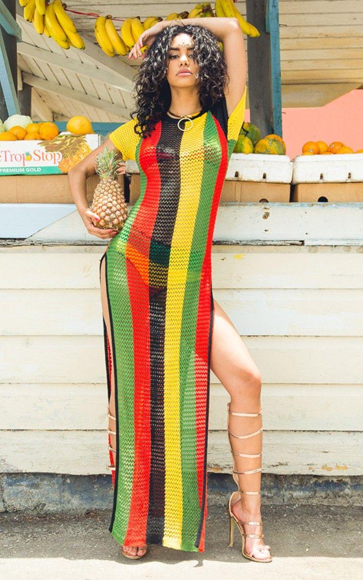 Riana Striped Side Split Knitted Maxi Dress Wedding