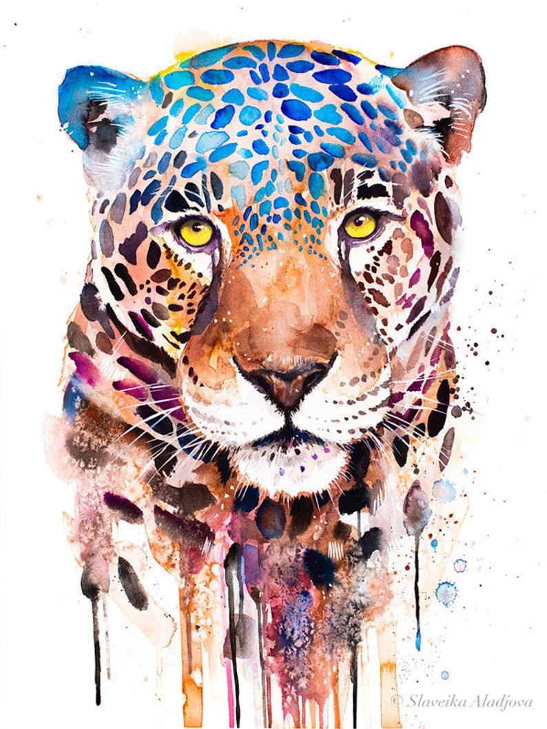 Jaguar Panther Watercolor Painting Print By Slaveika Aladjova Art Animal Illustration Home Decor Nursery Gift Wildlife Wall Art Cat Leopard Art Leopard Watercolor Painting Animal Art
