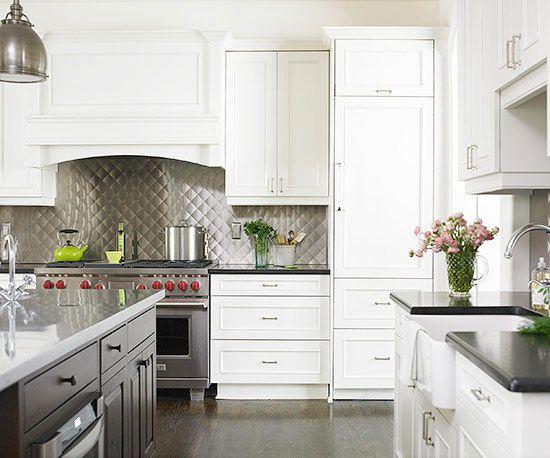 Metal Backsplash Kitchen Design Backsplash For White Cabinets
