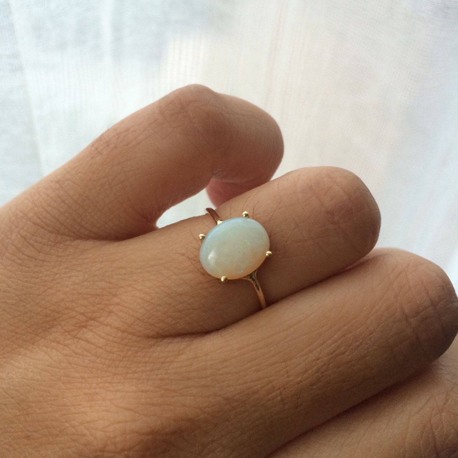 Opal Ring Opal Engagement Ring 14k Opal Ring Opal Solitaire