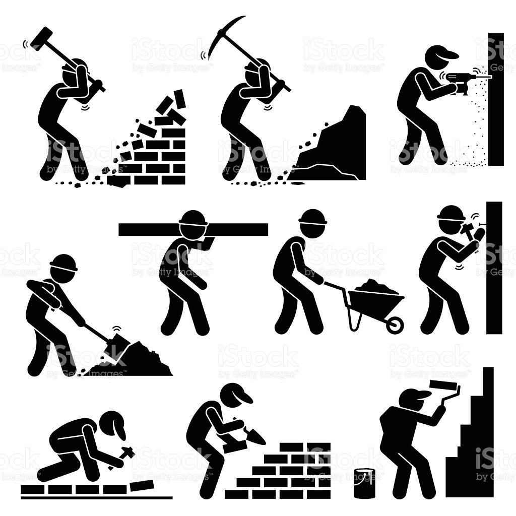 Set Of Vector Stick Man Pictogram Representing Builders And In