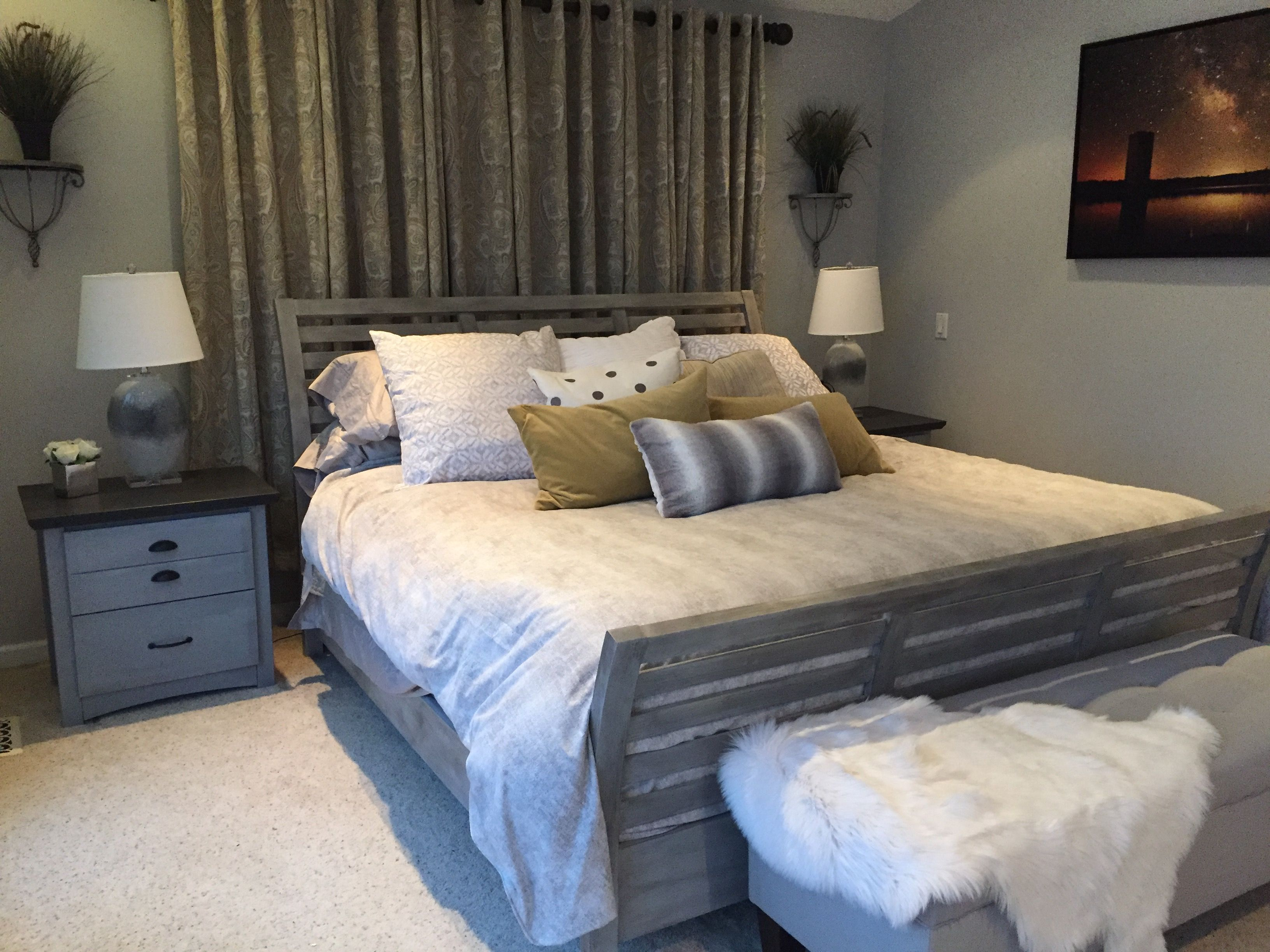 This bedroom has new life with chalk painted bed frame and ...