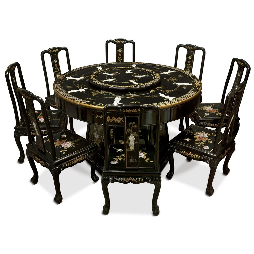 Round Table 8 Chairs Office For Fat Guys 60in Black Lacquer Dining With In 2018 More