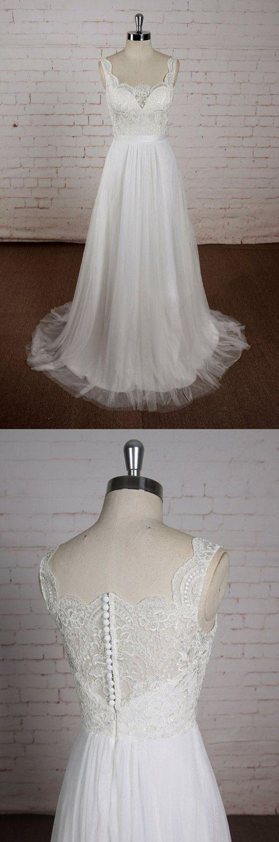 Simple and cheap wedding dresses  Aline Vneck Lace Top Tulle Skirt Sleeveless Simple Cheap Wedding