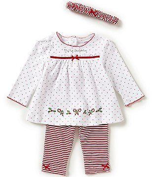 d3679f4ca5976 Little Me Baby Girls 3-12 Months My First Christmas Dotted Tunic and  Striped Leggings Set