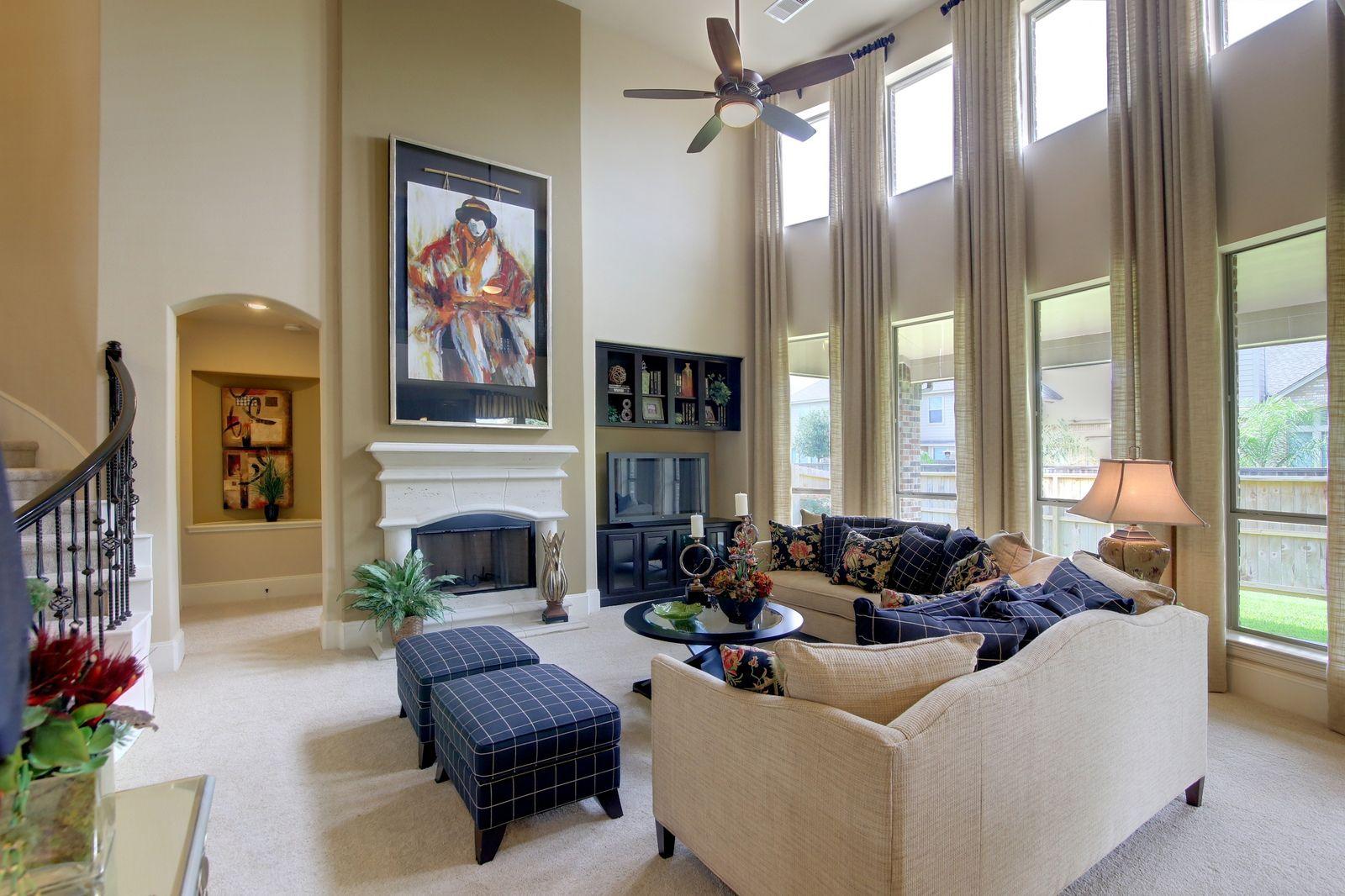 Westin Homes Houston Home Builder The Preston Floorplan Living Room Open Concept