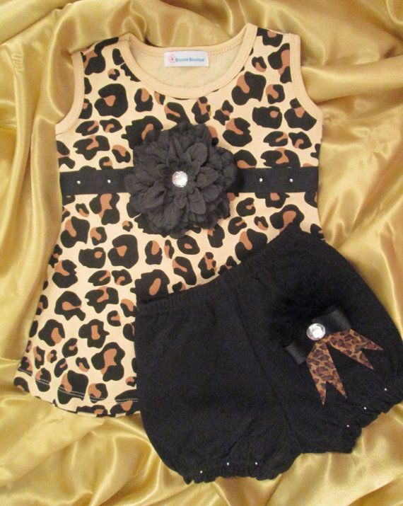 Leopard Print Baby Dress Set with Diaper Cover  f32994476