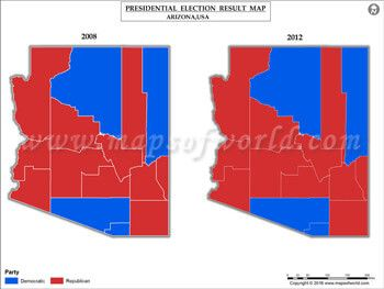 Arizona Election Results Map 2008 Vs 2012 | US Presidential election ...