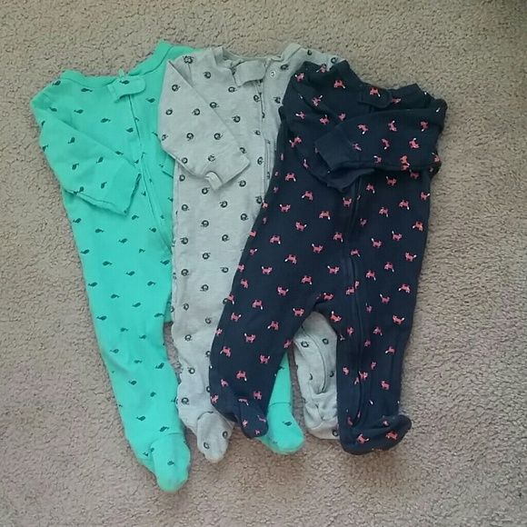3 onepiece pjs 9 months Carter's brand pjs in great condition. Carter's  Intimates & Sleepwear Pajamas
