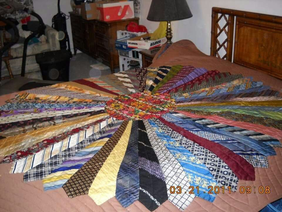 Old Ties Make Into A Bed Spread Or Table Cloth Trash To