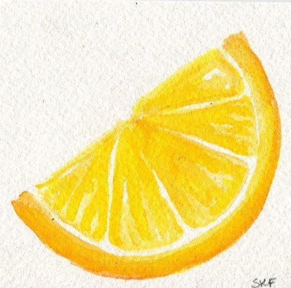 Lemon Kitchen Decor At Target: Little Lemon Original Watercolor Painting, Food Art