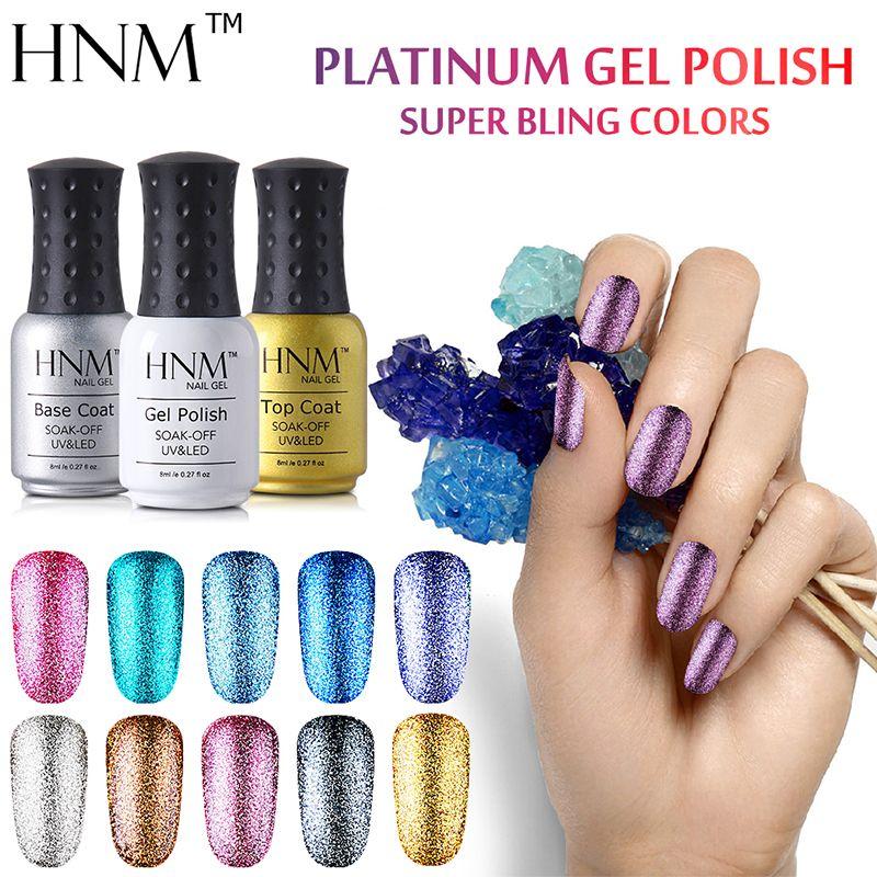 HNM Super Bling Color Nail Polish 8ML Long Last Glitter Nail Varnish ...