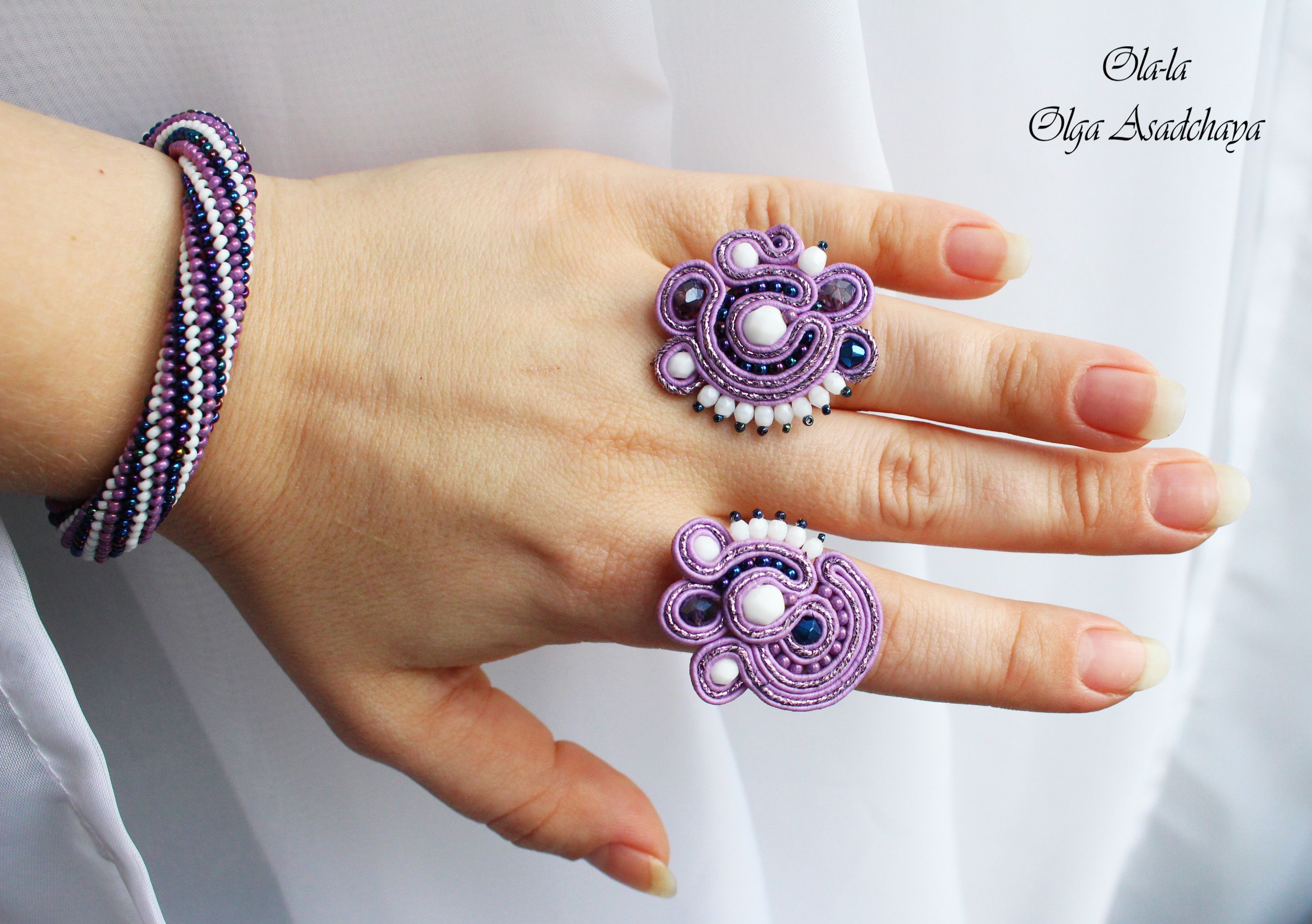 "rings ""Purple Clouds"" soutache, crystal and glass beads, Czech and Japanese seed beads, metal. findings"