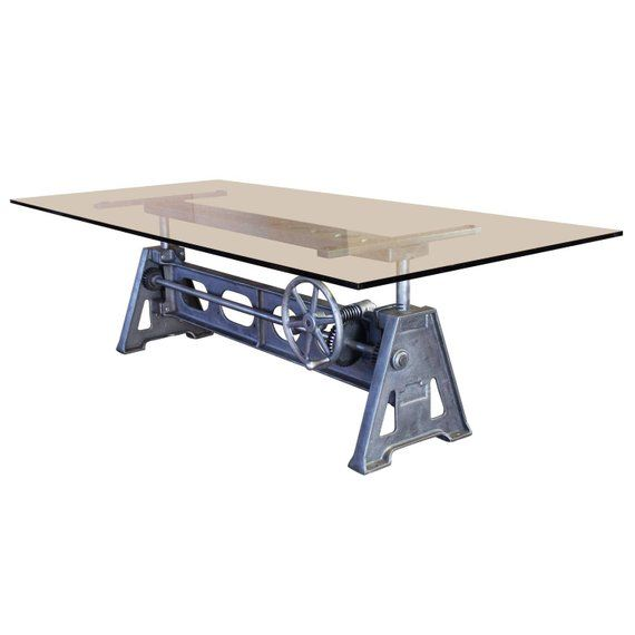 vintage industrial cast iron height adjustable table base in 2019 rh pinterest com