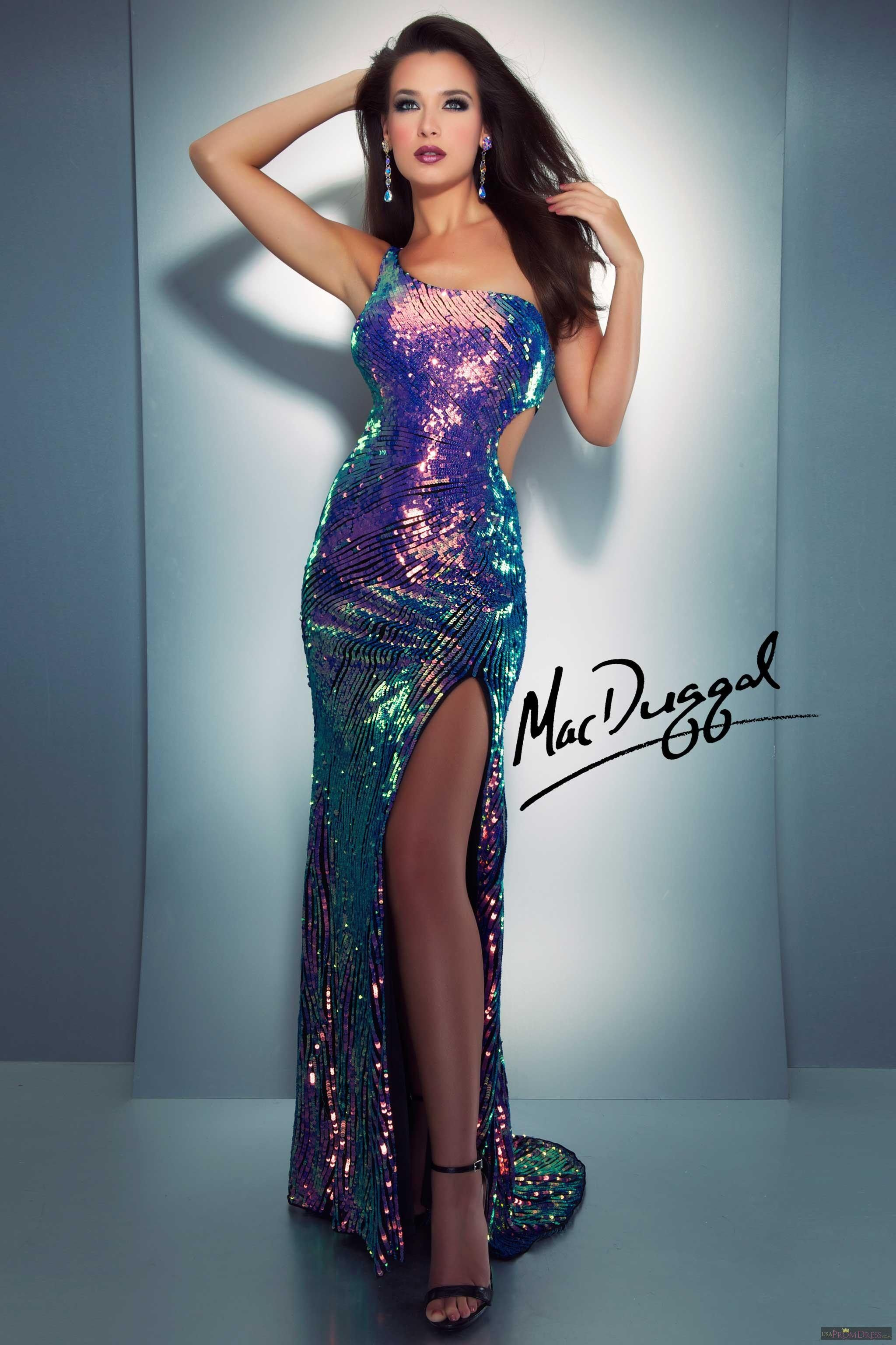 Mac Duggal Style 3702A - Bedazzled one shoulder prom dress will reflect on you in the most sultriest of ways.  Fully sequined prom dress has side cut out and sexy high leg slit.