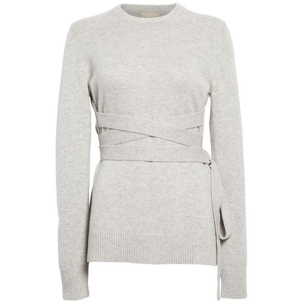 Michael Kors Wrap Belt Cashmere Sweater ($518) ❤ liked on ...