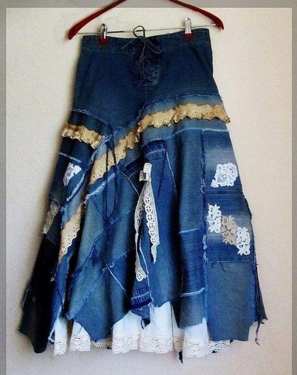 d4b4b33883421 Юбка из старых джинсов своими руками: выкройки, как сшить | Джинс ...
