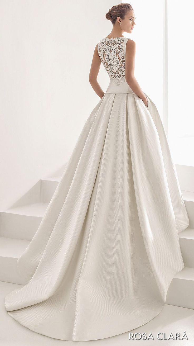Rosa clara bridal sleeveless bateau neckline simple clean drop