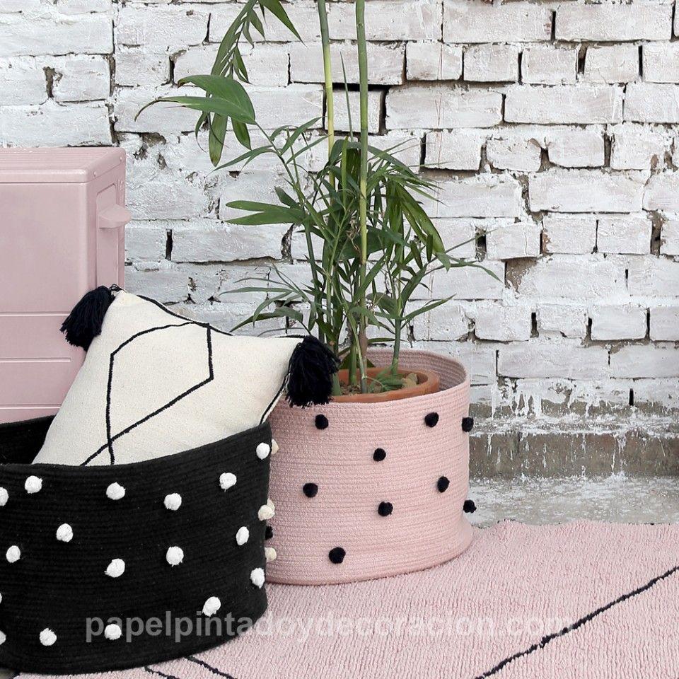Cesta de algodón lavable negro topos blancos BSK-PEB-BK   Cestos ...