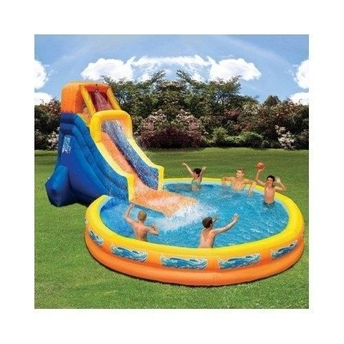 Inflatable Water Slide Pool Bounce House Park Commercial Bouncer Swimming Party Includes 11 Stakes Water Slides Backyard Inflatable Water Slide Water Slides