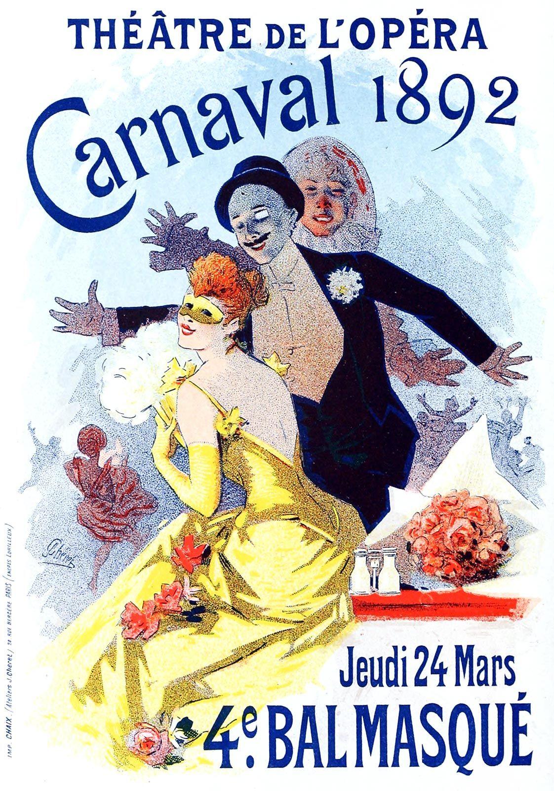Carnaval 1892, Jules Chéret, from Les affiches illustrées (1886-1895) [Illustrated posters (1886-1895)], by Ernest Maindron, Paris, 1896