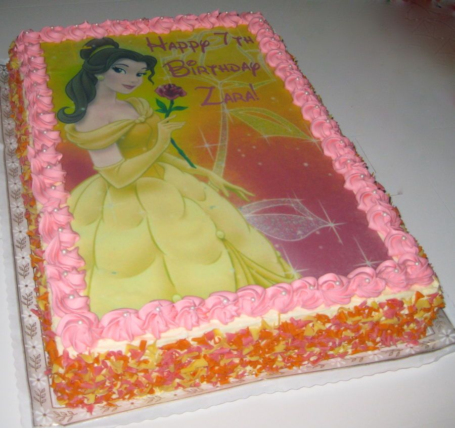 Princess Belle Beauty and the Beast Sheet Cake Childrens Birthday