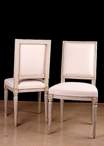 Set Of 6 French Antique Louis XVI Style Square Back Painted Chairs