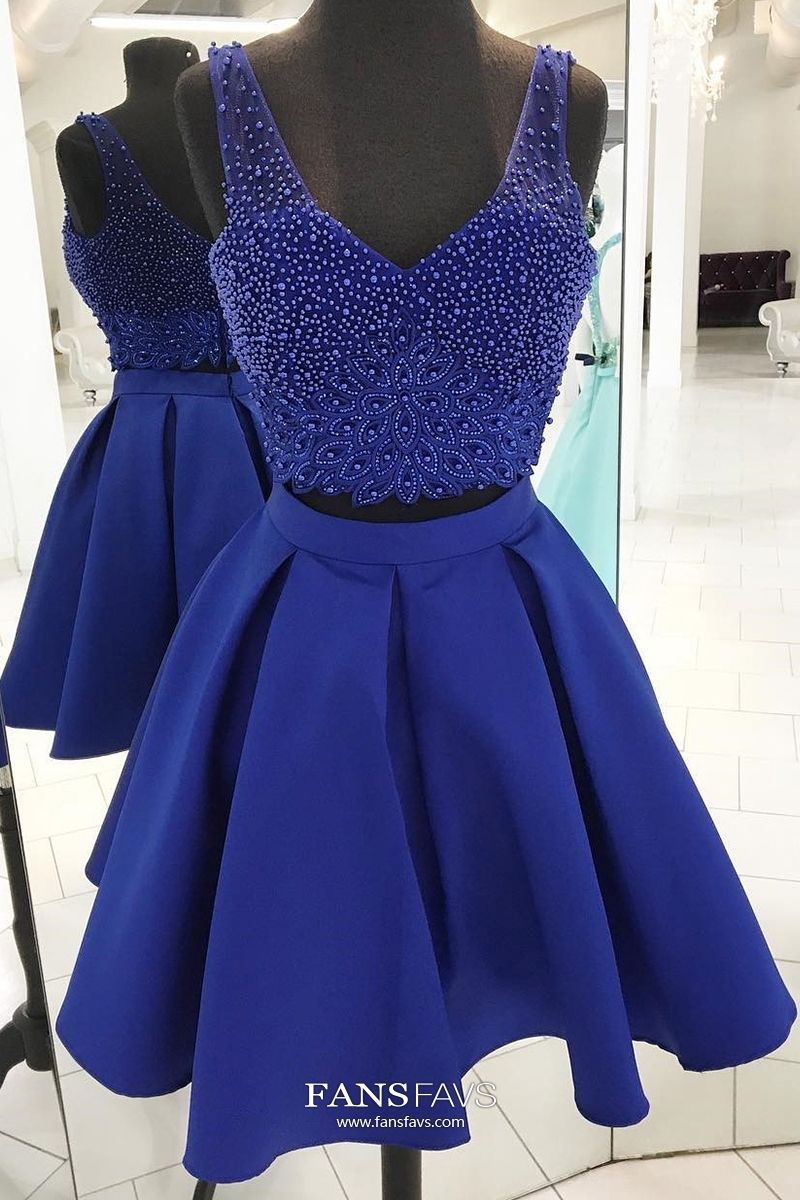 Blue homecoming dresses short two piece homecoming dresses a line