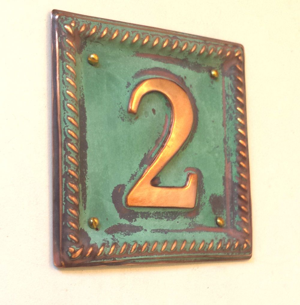 Metal Address Plaque With Barley Twist Frame 1 X 2 50mm Number In Polished And Patinated Copper Sheet G Address Plaque Copper Sheets Traditional House Numbers