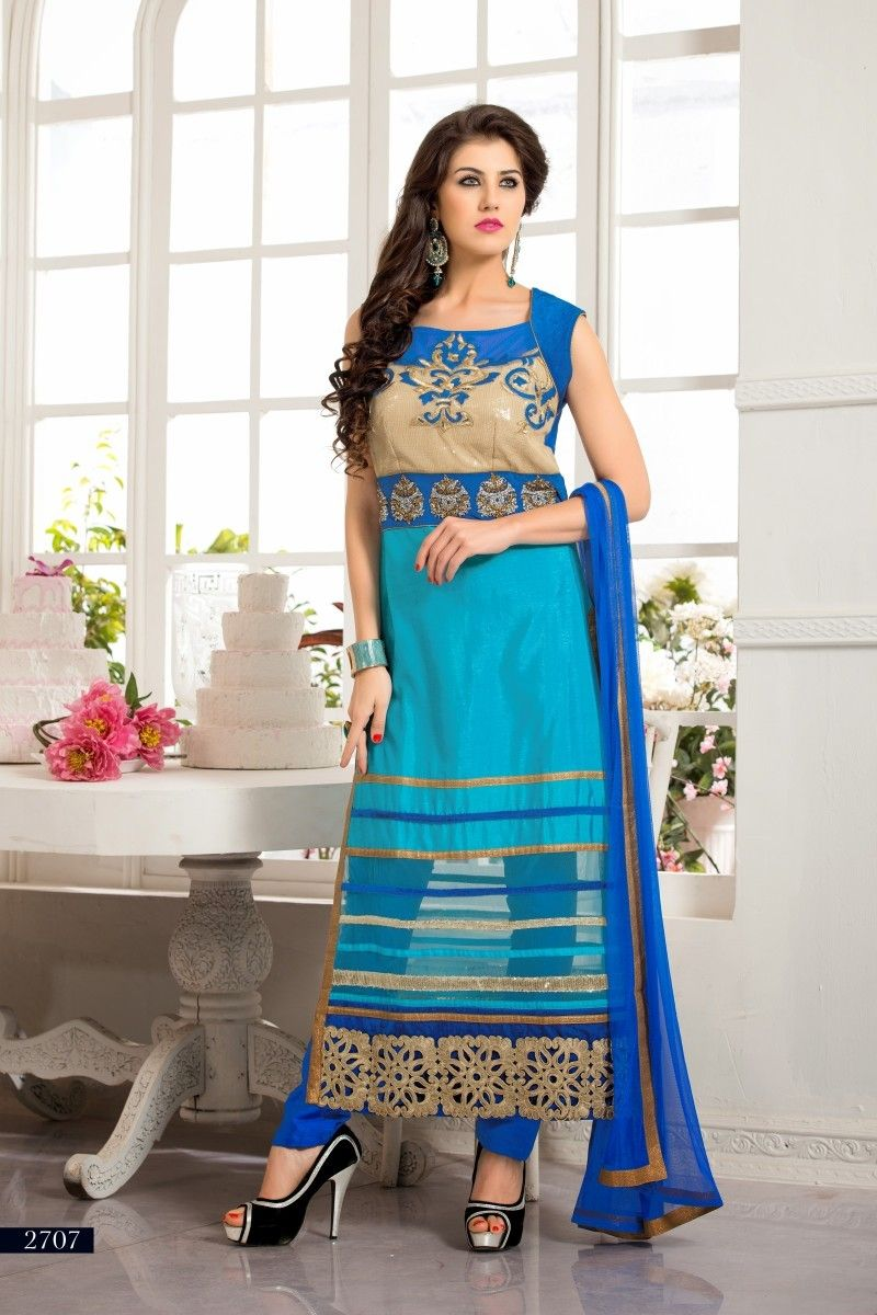Sky Blue Color Net Salwar Kameez Dress Material | Salwar Kameez ...