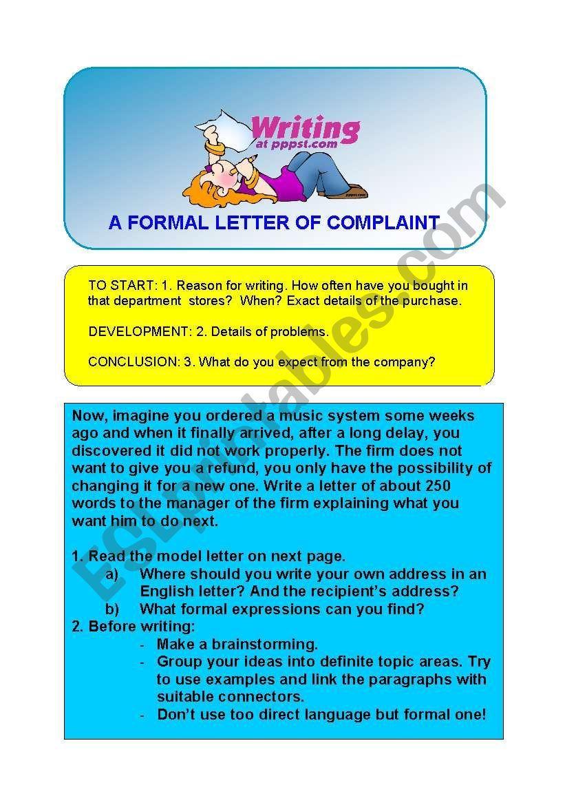 WRITING A FORMAL LETTER OF COMPLAINT ESL worksheet by