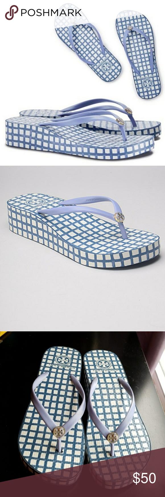 d9cd2c6de53d20 Tory Burch Thandie Wedge Flip-flop A crisp pattern lends a modern touch to  the