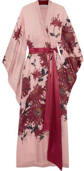 79eae30b80c Carine Gilson - Floral-print Silk-satin Robe - Pastel pink