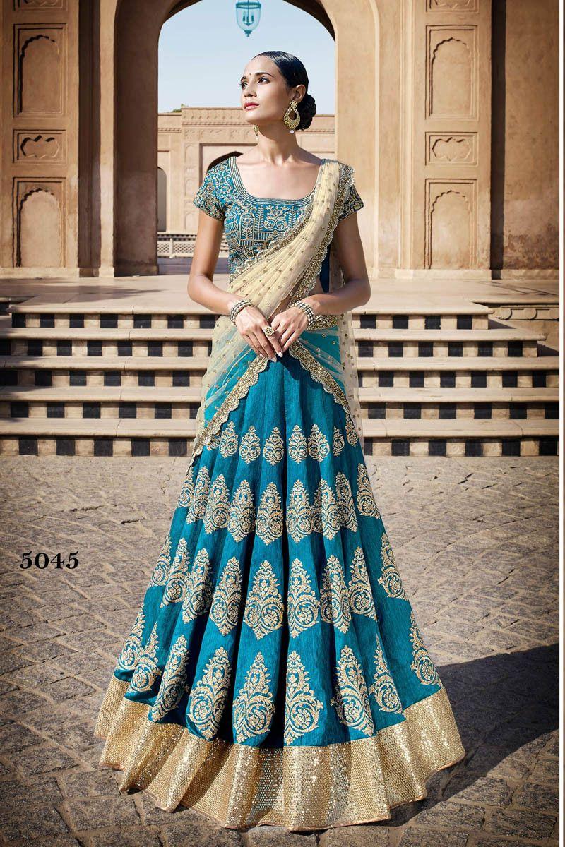 Buy Blue Bhagalpuri silk Designer Lehenga Online in low price at ...