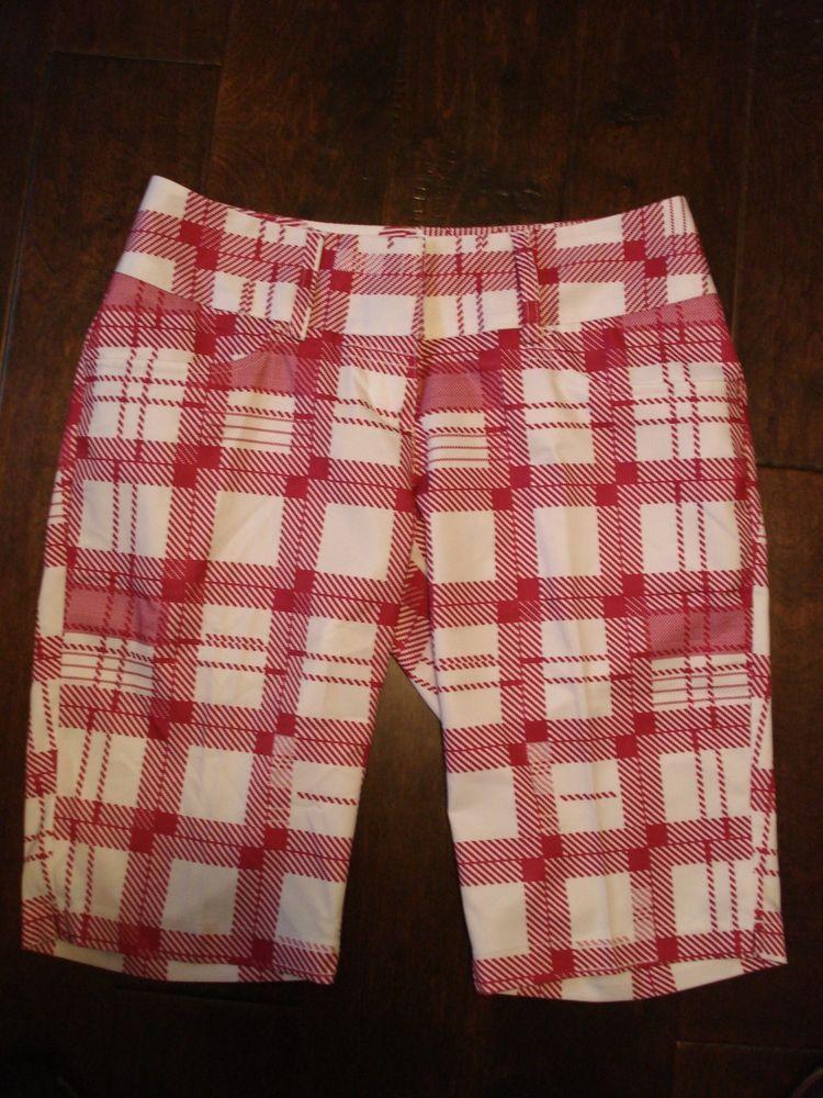 Adidias ClimaLite Longer Plaid Golf Walking Bermuda Shorts Women's Sz 4 Plaid #adidas #Shorts