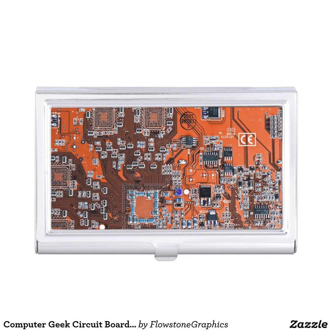 Computer Geek Circuit Board - orange Business Card Case | Business ...