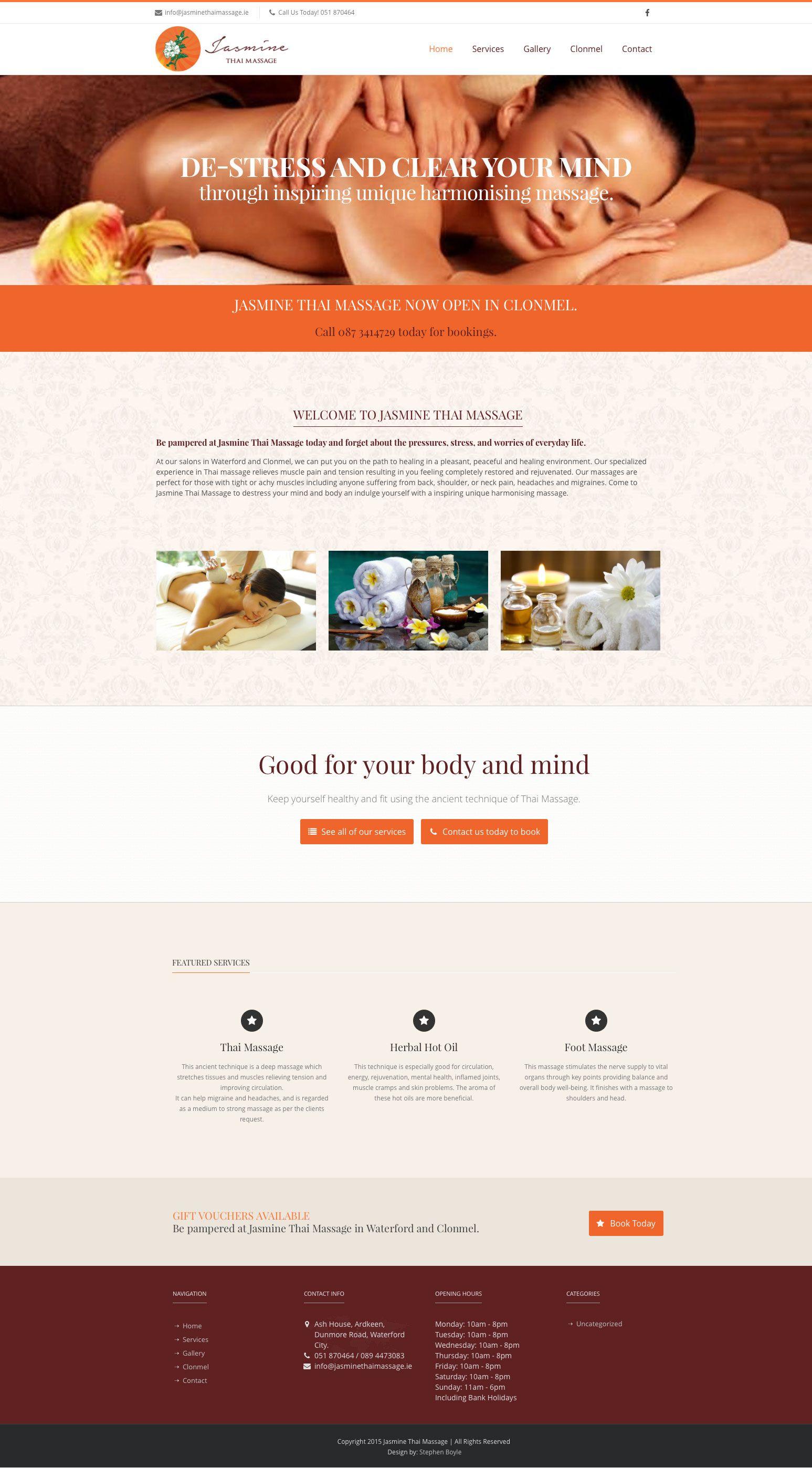 Website Design For Thai Massage Salon In Waterford Ireland Http Jasminethaimassage Ie Webdesign Graphic Website Template Design Spa Website Thai Massage