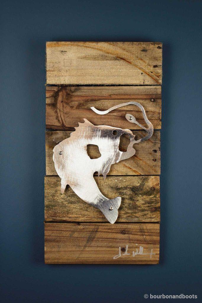 Bass Fish Reclaimed Wood & Shaped Metal Art $85