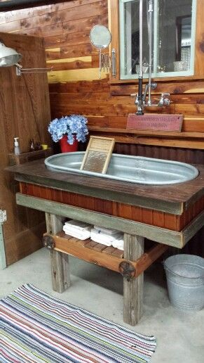Water Trough Utility Sink Rustic Country Kitchen Farmhouse Window Treatments Living Room Rustic House