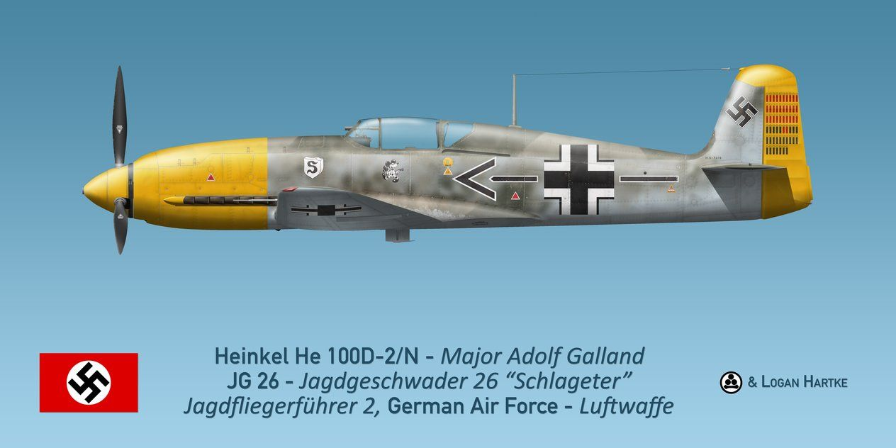 "Heinkel He 100D - Major Adolf Galland JG 26 - Jadgeschwader 26 ""Schlageter"" Jagdfliegerfuhrer 2, German Air Forece - Luftwaffe."