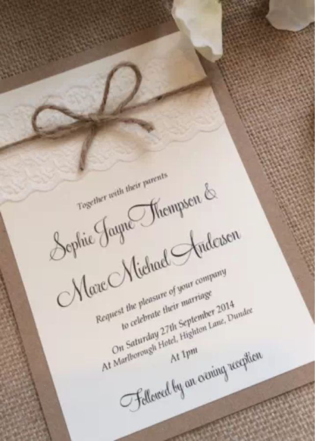 wedding party invitation message%0A Vintage Rustic Lace wedding invitation with twine  SophieLace range